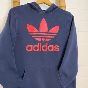 BOYS - Adidas navy and red trefoil hoodie
